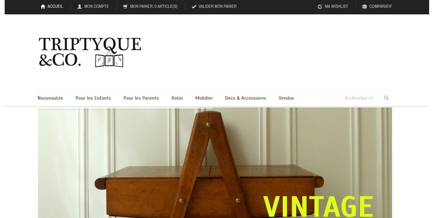conception site ecommerce Triptyque & Co I Mobiliers et Objets vintage - triptyqueandco_com home