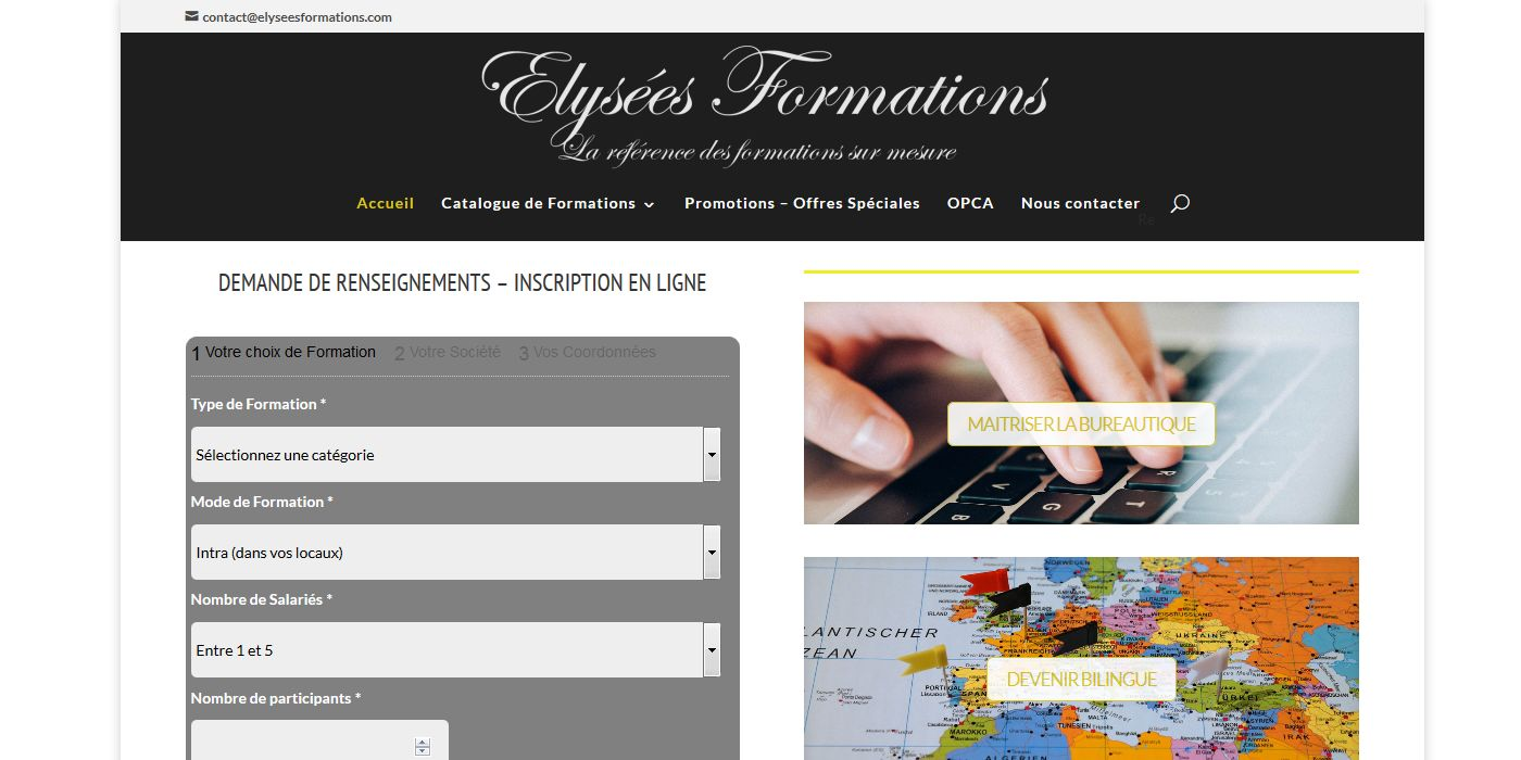 conception site vitrine elysees formations - client elysees formations - juin 2015