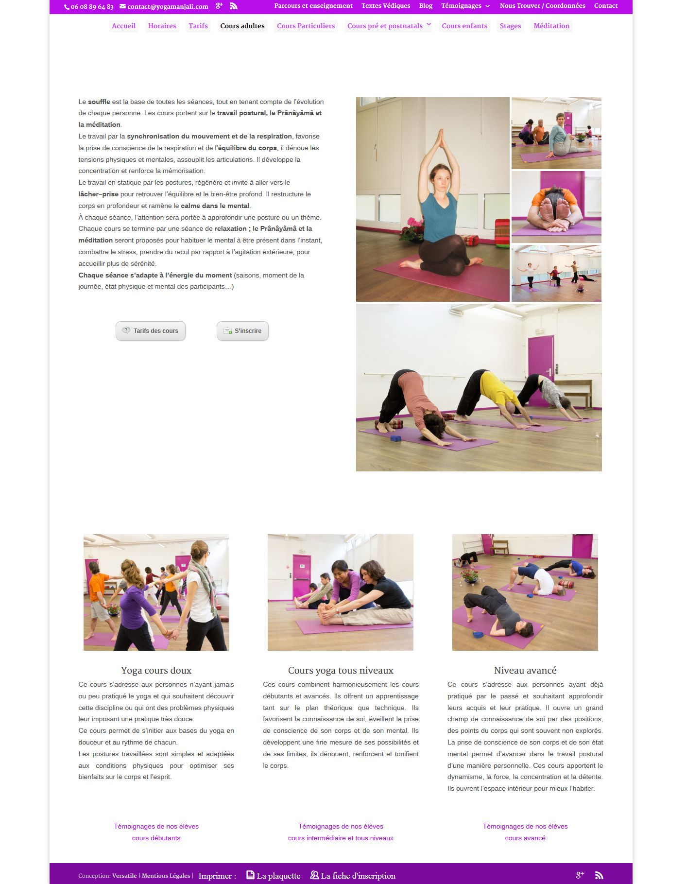conception site vitrine  yogamanjali - client  filla brion - activité cours de yoga paris 20 (1)