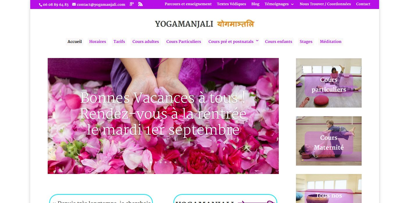 conception site vitrine  yogamanjali - client  filla brion - activité cours de yoga paris 20 (2)