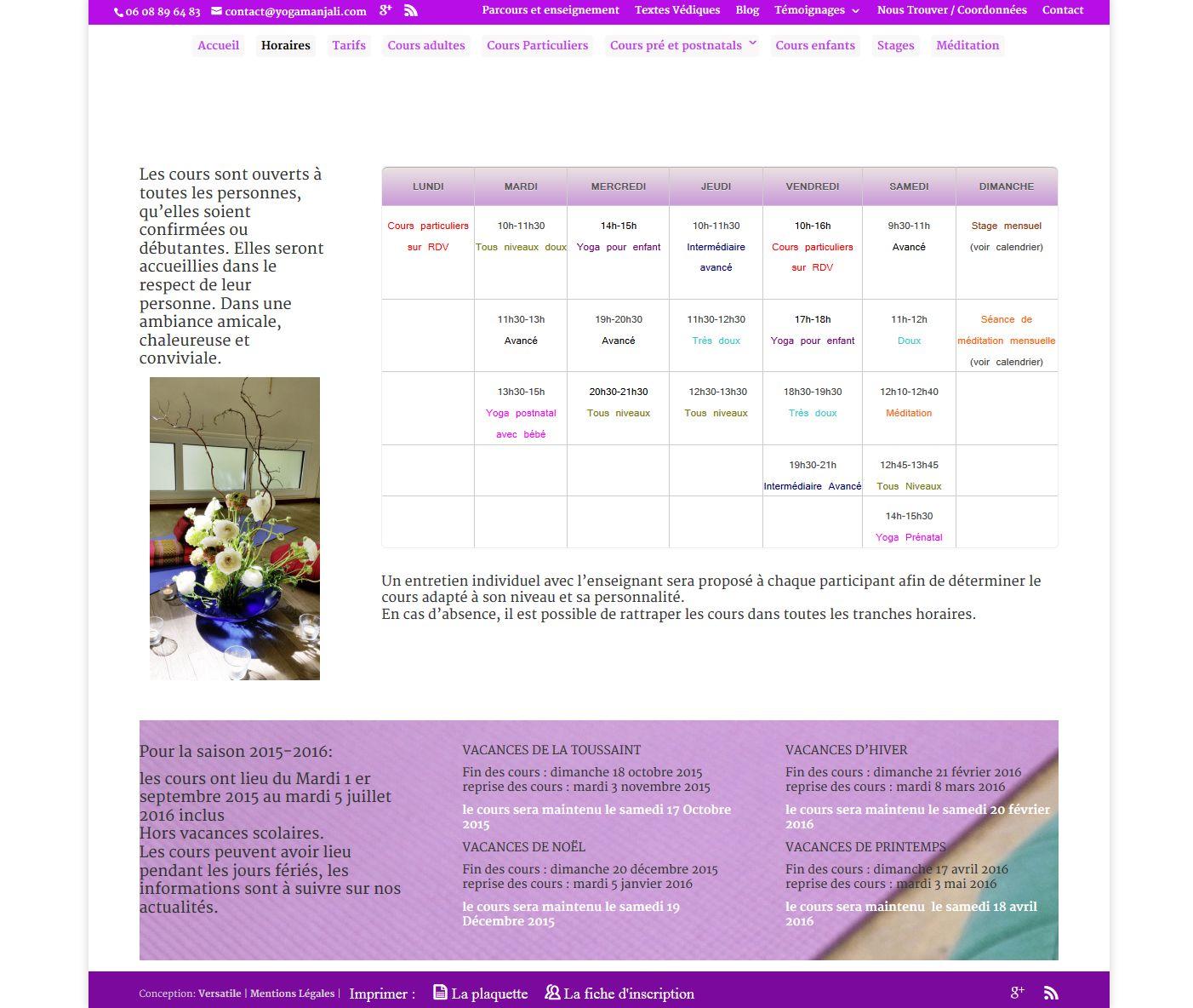 conception site vitrine  yogamanjali - client  filla brion - activité cours de yoga paris 20 (3)
