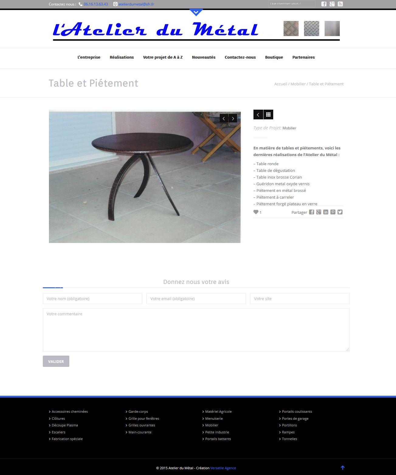 creation site vitrine et ecommerce l'Atelier du Métal - client Artisan Metallier Ferronnier -  janvier 2015 atelierdumetal-provence.com portfolio galerie