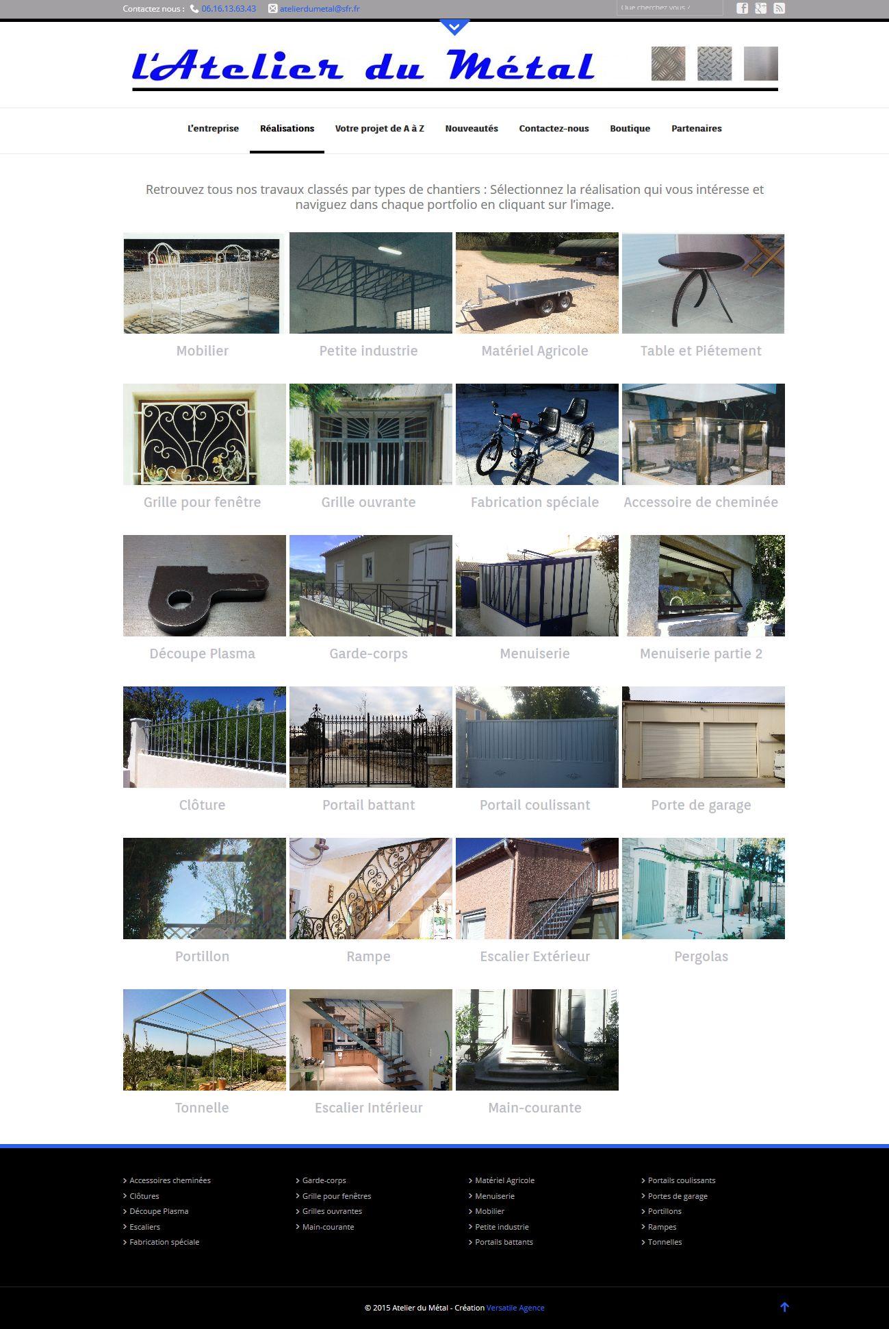 creation site vitrine et ecommerce l'Atelier du Métal - client Artisan Metallier Ferronnier -  janvier 2015 atelierdumetal-provence.com portfolio