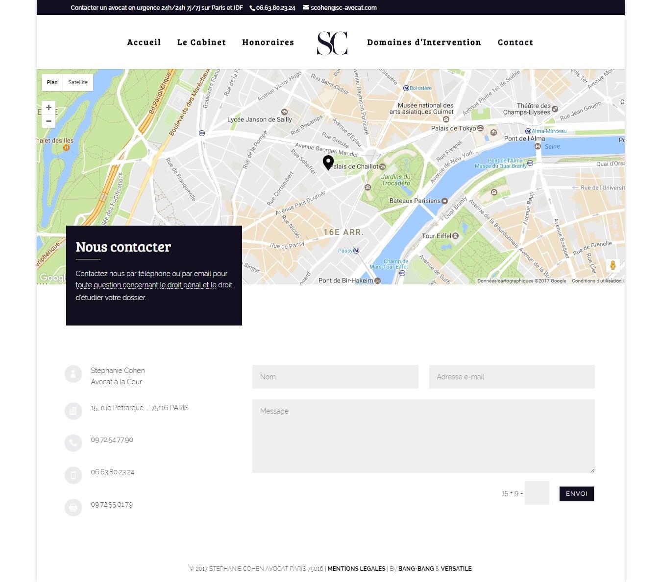 Coordonnées Stéphanie Cohen Avocate à Paris Droit Pénal et Familial
